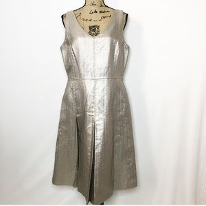 Lafayette 148 Gold Metallic Fit and Flare Dress
